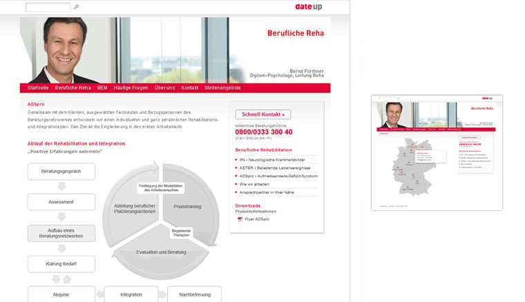 Kunde: date up training GmbH, Website